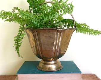 Vintage Brass Planter with Handle, Brass Bucket, Brass Basket, Bohemian Decor