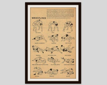 vintage wrestling print sports illustration boys bedroom decor 1940s wrestler gift. beautiful ideas. Home Design Ideas