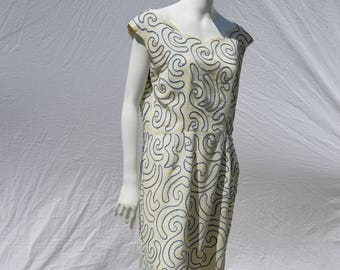 Vintage 50's Linen summer party dress piping embroidery abstract design beaded by ELNITA fashion Miami florida size 10