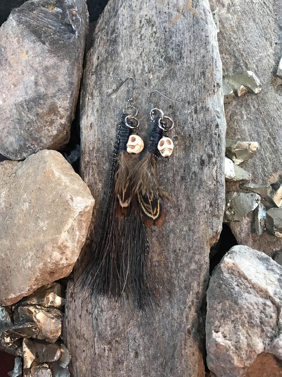 Skull Horse Hair earrings