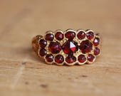 Antique Victorian bohemian garnet dress ring with engraved shoulders
