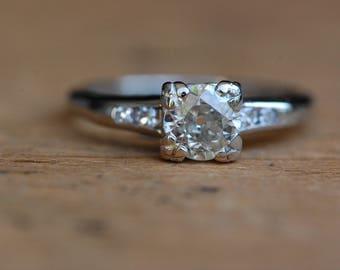 Vintage .65 carat Old European Cut JABEL engagement ring ∙ 1930s Art Deco 18K engagement ring