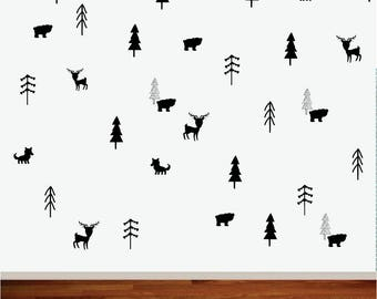 Wall Decal - MatchStick Trees -  Forest Decals - Wall Stickers - Room Decals