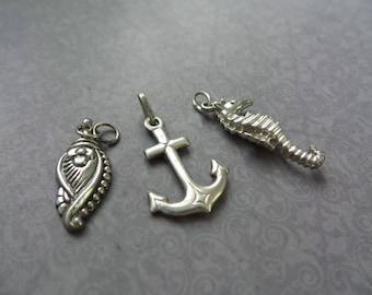 Vintage Nautical Charms, Nautical Pendants, Sterling Silver Anchor, Seahorse Charm, Vintage Pendants, Tropical Gift, Gift Women, Sea Charms