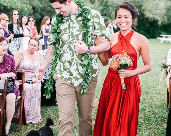 Sunset Flame- Short Circle Skirt Infinity Wrap Dress- Weddings, bridesmaids, halloween, Maternity