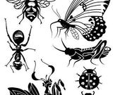 "Insects- 4x6"" Clear Stamp Set - Gardens Collection - Card Making - Scrapbooking - Papercrafts"