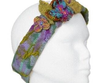 wool winter headband knit crochet flower headband, fancy headband