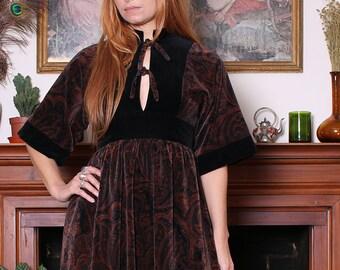 Vintage 70s Annie Gough Black Paisley Velvet Midi Dress XS-S