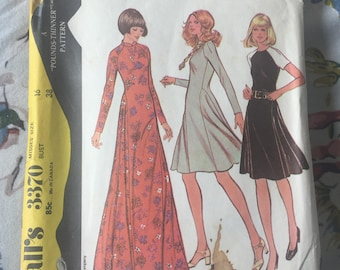 McCall's 3370 Dress Pattern 1960's or 1970's