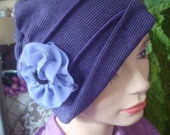 Womens hat soft hat chemo headcover chemo gift purple flapper hat chemo cloche