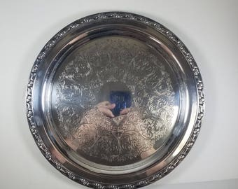 Vintage Oneida Silversmiths Silver Plated Medium Serving Tray Platter 1970's Park Lane