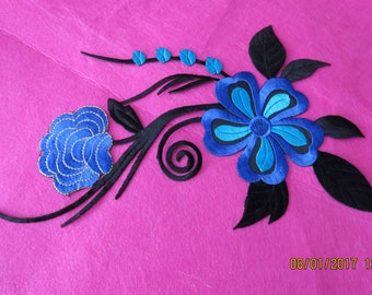 Large iron on embroidered applique,floral applique
