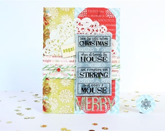 Nontraditional Blank Glittered Accented Christmas Card - Twas The Night Before Christmas... - Merry Card with Matching Envelope Seal