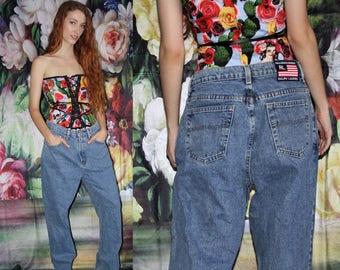90s Vintage Ralph Lauren Mid Rise Blue Denim Chemical Wash Jeans - 1990s Ralph Lauren - 90s Clothing - WV0421