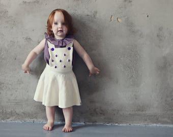 Girls skirt with suspender Pinafores skirt Schoolgirl skirt Toddler skirt Baby skirt Knit ruffle skirt