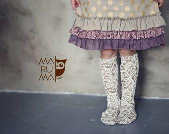 Lace socks Girls BOOT SOCKS Knee high socks leg warmers off white with beige lace socks for girls