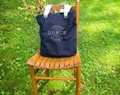 Amazing Grace canvas school bag navy blue, canvas school bag, bible verse of the day, bible study tote
