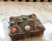 Vctorian Kashmir Indian Brass metal semi precious stone cabuchon filagree trinket box