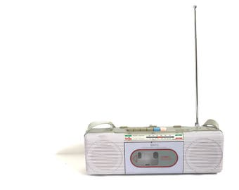 Childhood Dream BOOMBOX lavender 80s CASSETTE tape radio stereo am/fm carrying STRAP to tote around