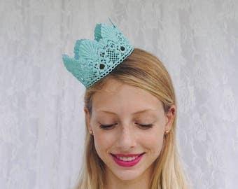 """Teal Mermaid Princess Lace Crown - """"Mermaid Crown"""" - fairy tale, halloween, birthday crown, bridal crown, queen"""