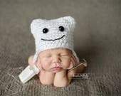 Baby Girl Prop/ Baby Boy Prop/ Newborn Tooth Hat/ Baby Tooth Hat/ Dentist Newborn Prop/ Tooth Hat/ Crochet Baby Hat/ Dentist Hat