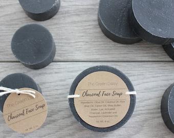Activated Charcoal Face Soap - Black Soap - Detox Soap - Charcoal Facial Soap - Handmade Face Soap - Round Soap - Natural Face Soap -