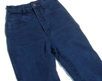 "Ultra High Indigo | 24"" waist high rise waisted womens high waist dark blue denim jeans skinny tapered xs s 5 6 90s vintage"