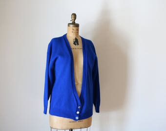 Blue Cardigan | vintage unisex medium M deep v long sleeve knit royal blue sweater preppy hipster kitsch winter spring long