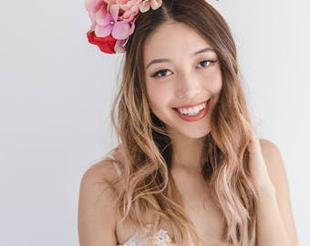 peach red pink flower crown headband // spring racing flower headpiece / spring carnival headpiece / spring races flower fascinator