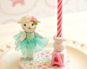 Lamb  Cake Topper, 1st Birthday Cake Topper Girl, Finger Puppet, Baby Shower Cake Topper, Birthday Candle Cake Topper, Happy Birthday Cake