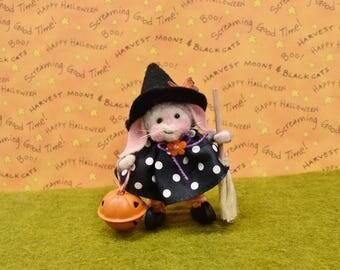 Needle Felted Halloween Bunny Witch