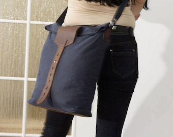 Waterproof Waxed Canvas Messenger Leather frame, Canvas Leather Messenger Bag, Canvas Cross body Bag, Canvas Leather Laptop bag, Zoe