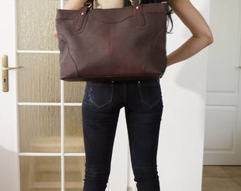 Leather Tote Bag, Leather Crossbody Bag Leather Bag, Leather Tote, Leather Purse, Leather Handbag Nora BIS XL, Rustic Mahogany Brown