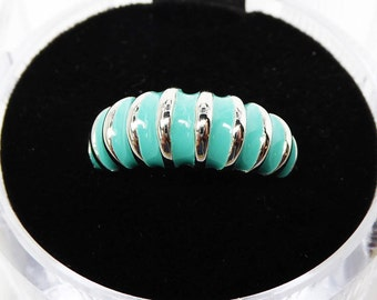 18K White Gold Electroplate Band Ring - Turquoise Enamel Slices - Signed 18K GE Classic Modern Design - Vintage 1990's Band TheJewelSeeker