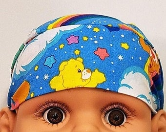 Rainbow Care Bears Skull Cap or Chemo Cap, Last One, Cancer, Alopecia, Hair Loss, Children, Stars, Clouds, Do Rag, Head Wrap, HeadWear, Hats