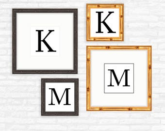 Personalized gift for him, for her, framed monogram print