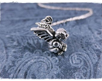 Silver Gargoyle Necklace - Sterling Silver Gargoyle Charm on a Delicate Sterling Silver Cable Chain or Charm Only