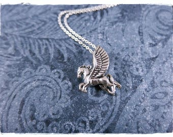 Silver Pegasus Necklace - Sterling Silver Pegasus Charm on a Delicate Sterling Silver Cable Chain or Charm Only
