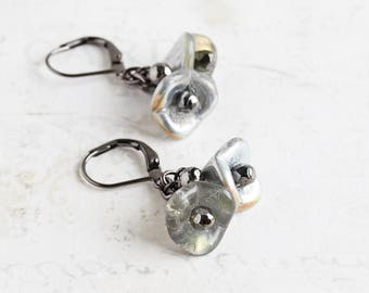 Silver Gray Beaded Flower Cluster Earrings on Gunmetal Black Hooks