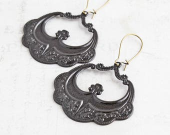 Statement Earrings, Oxidized Black Brass Earrings on Antiqued Brass Hooks, Large Earrings, Boho Chic Jewelry, Floral Jewelry