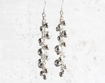 Gray Pearl Earrings, Silver Pearl Dangle Earrings on Silver Plated Hooks, Cluster Earrings, Bridal Jewelry