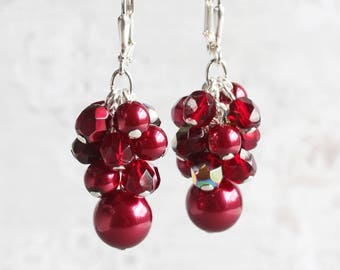 Dark Red Earrings, Garnet Red Dangle Earrings on Silver Plated Hooks, Cluster Earrings, Burgundy Earrings, Bridesmaid Jewelry Gift