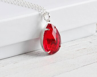 Red Teardrop Necklace, Ruby Red Necklace on Silver Plated Chain, 18mm Rhinestone Pendant Necklace, Vintage Style Jewelry