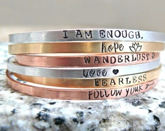 Hand Stamped Personalized Stacking Bracelets, Personalized Bracelets, Personalized Cuffs, Personalized Gift, Layering Bracelets