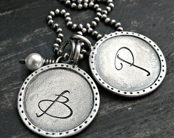 Artisan Sterling Silver Personalized Necklace, Initial Necklace, Hand Stamped Necklace, Sterling Silver Initial Necklace