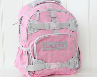 Large Backpack With Monogram  (Large Size) -- Pink/Gray Glitter Heart
