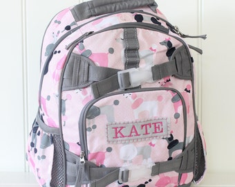 Small Size Pottery Barn Backpack With Monogram -- Pink/Gray Poodle