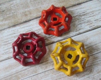 FAUCET HANDLES DISTRESSED - 3 Vintage Assorted Colors Red Orange Yellow for Mixed Media, Steampunk Industrial Decor, Altered Art Projects