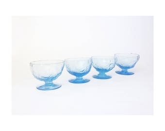 Mid Century Amorphous Blue Glass Coupe Cocktail Glasses / Set of 4
