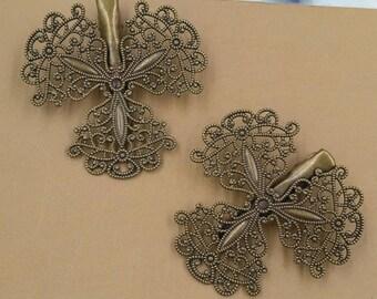10 Brass Alligator Hair Clips W/ 48mm Filigree Floral Antique Bronzed- Z8734
